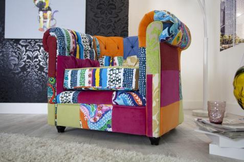 Casa Padrino Chesterfield Sessel Patchwork Bunt - Wohnzimmer Designer Sessel