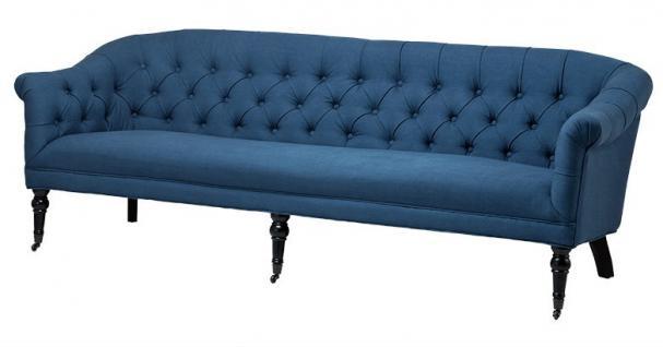 Luxus Barock Sofa Paris Blau aus der Luxus Kollektion von Casa Padrino - Hotel Cafe Restaurant Möbel Einrichtung