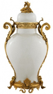 Casa Padrino Luxus Barock Keramik Vase Weiß / Gold - Grand Decor V3 - Hotel Dekoration