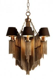 Casa Padrino Barock Luxus Ketten Kronleuchter 6-Flammig Antik Stil Gunmetal Finish - Möbel Lüster Leuchter Hängeleuchte Hängelampe