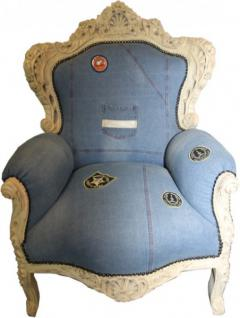 Casa Padrino Barock Sessel King Jeans Style / Antik Creme - Limited Edition Model