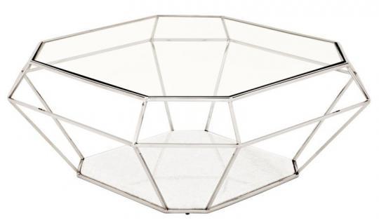 Casa Padrino Luxus Art Deco Couchtisch Glas / Nickel Finish - Glastisch - Luxus Kollektion