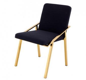 Casa Padrino Luxus Designer Stuhl Schwarz Gold - Luxus Kollektion