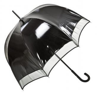 Jean Paul Gaultier Luxus Designer Damen Regenschirm Schwarz Vinyl Look- super sexy