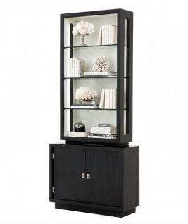 Casa Padrino Luxus Bücher Schrank Schwarz Massivholz Miami Single Cabinet Wohnzimmer Schrank Barock Jugendstil Rokoko Vitrine Ladeneinrichtung