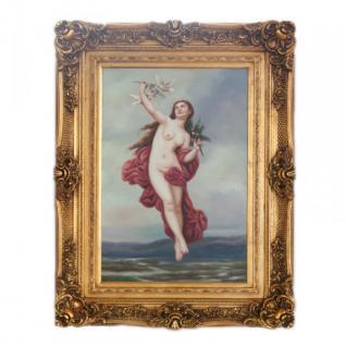 Handgemaltes Barock Öl Gemälde Engel Madame 4 Gold Prunk Rahmen 130 x 100 x 10 cm - Massives Material