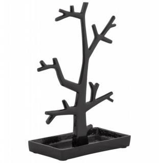 Casa Padrino Designer Schmuckhalterbaum groß schwarz lackiert aus Aluminium, Höhe 32 cm, Breite 22 cm - Schmuckständer, Schmuckbaum