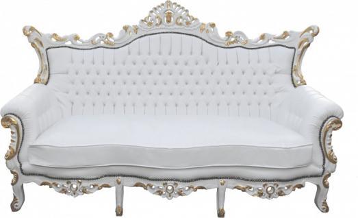 Casa Padrino Barock 3-er Sofa Master Weiss/Gold Mod2 - Antik Möbel - Limited Edition
