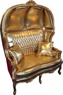 Casa Padrino Barock 2er Ballon Sofa Gold Lederoptik / Gold mit Bling Bling Glitzersteinen - Wohnzimmer Couch Möbel Lounge Hochzeit