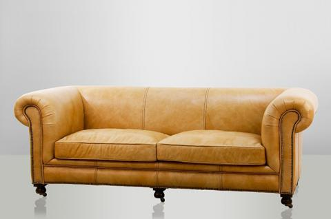 Chesterfield Luxus Echt Leder Sofa 2.5 Seater Vintage Leder von Casa Padrino Old Saddle Sand