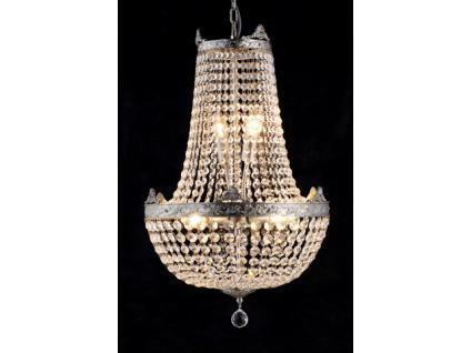 Barock Kronleuchter vernickelt mit Glaskristallen Länge 65cm Durchmesser 40 cm Antik Stil - Möbel Lüster Leuchter Hängeleuchte Hängelampe