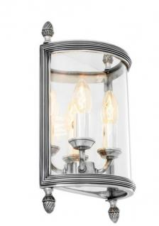 Casa Padrino Luxus Wandleuchte Antik Silber Durchmesser 21 x 11 x H 34, 5 cm - Luxus Leuchte