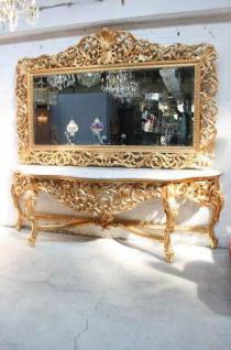 riesige casa padrino barock spiegelkonsole gold mit wei er marmorplatte luxus wohnzimmer m bel. Black Bedroom Furniture Sets. Home Design Ideas