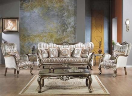 Casa Padrino Barock Neoklassik Sofa Set - 3er Sofa, 2 Sessel und Couchtisch - creme/braun - Luxus Kollektion aus Italien