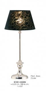 Elegante Barock Hockerleuchte in Farbe Schwarz, Durchmesser 20cm, Höhe 46cm N10C + 3320N Ovale Leuchte Lampe