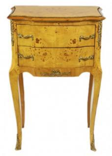 Casa Padrino Barock Kommode Vogelaugen Ahorn / Gold mit 2 Schubladen - Nachtschrank Antik Stil