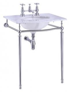 Casa Padrino Luxus Jugendstil Stand Waschtisch Weiß / Chrom mit Marmorplatte B 65cm - Art Deco Waschbecken Barock Antik Stil