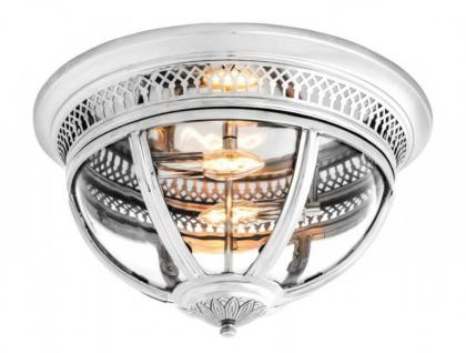 Casa Padrino Luxus Deckenleuchte Nickel Durchmesser 45 x H 30 cm Antik Stil - Möbel Lüster Deckenlampe