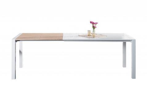 Moderner Design Esstisch Weiß Hochglanz / Eiche Furnier - Ausziehbar 130 - 170 - 215 cm von Casa Padrino - Esszimmer Tisch