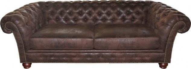 Casa Padrino Limited Edition Designer Chesterfield 3-er Sofa Braun B 226 cm - Club Möbel