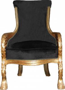 Casa Padrino Barock Lounge Sessel Schwarz / Gold Mod2 Möbel Antik Stil - Wohnzimmer Club Möbel Sessel Thron