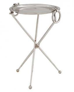 Casa Padrino Designer Luxus Beistelltisch Silber Vintage Design Mod2 Höhe: 45 cm, Durchmesser 30 cm - Edelstahl Tisch - Nickel Finish - Luxus Qualität