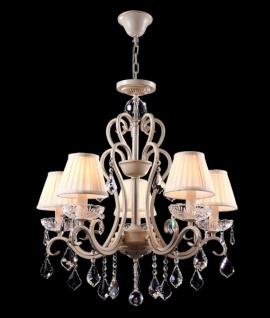 Casa Padrino Barock Kristall Decken Kronleuchter Cream Gold 63 x H 70 cm Antik Stil - Möbel Lüster Leuchter Hängeleuchte Hängelampe