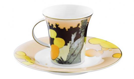 """Handgearbeitete Moccatasse aus Porzellan mit einem Motiv von von T. Lautrec """" Moulin Rouge"""" 0, 09 Ltr. - feinste Qualität aus der Tettau Porzellanfabrik - wunderschöne Espressotasse"""