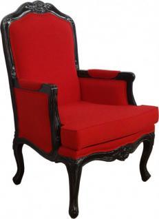 Casa Padrino Barock Lounge Sessel Rot / Antik Schwarz - Hotel Möbel