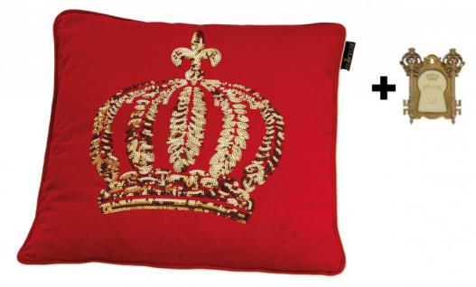 Harald Glööckler Designer Zierkissen 50 x 50 cm Krone mit Pailletten Rot/Gold + Casa Padrino Bilderrahmen - Kissen Wohnzimmer Dekokissen