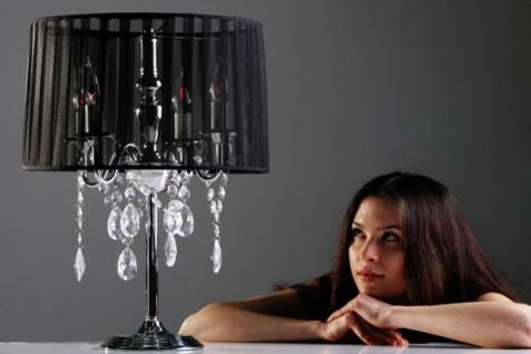 Casa Padrino Barock Hockerleuchte mit Kristall-Deco, 4-Flammig, Schwarz, nostalgische Tischleuchte, Leuchte Lampe