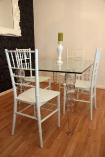 Designer Acryl Esszimmer Set - Ghost Chair Table - Polycarbonat Möbel - 1 Tisch + 4 Stühle - Casa Padrino Designer Möbel Weiß - Casa Padrino Designer Möbel