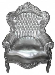 "Casa Padrino Barock Sessel "" King"" Silber/ Silber- Möbel Antik Stil 1 B Ware"