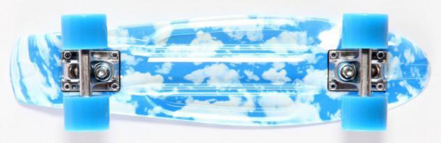 Koston Oldschool Skateboard Plastic Cruiser Retro 70s Blue Sky / Skyblue Wheels - 22.5 x 6.0 inch - Plastik Skateboard mit Koston Kugellagern