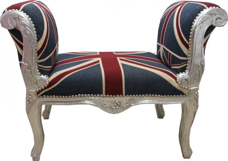 barock schemel hocker union jack silber sitzbank kaufen bei demotex gmbh. Black Bedroom Furniture Sets. Home Design Ideas