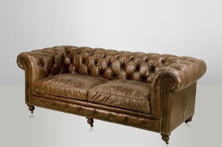Chesterfield Luxus Echt Leder Sofa 2 5 Seater Vintage Leder Von Casa Padrino Cigar Kaufen Bei