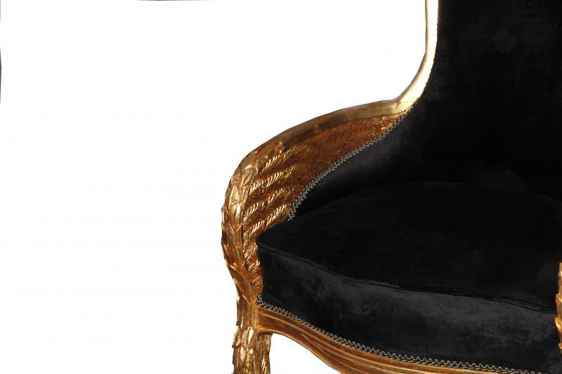 Casa Padrino Barock Lounge Sessel Schwarz / Gold Mod2 Möbel Antik ...