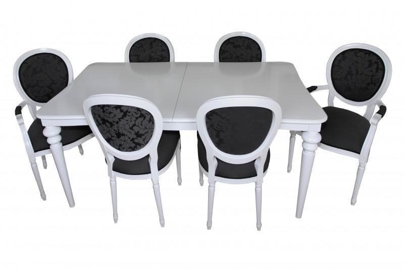 casa padrino design esszimmerset wei ausziehbar esstisch 6 st hle kaufen bei demotex gmbh. Black Bedroom Furniture Sets. Home Design Ideas