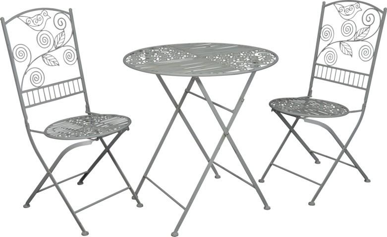 Balkonmöbel set metall  Jugendstil Gartenmöbel Set - Bistro Set - 1 Tisch mit 2 Stühlen ...