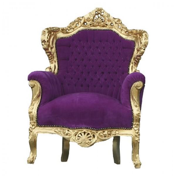 barock sessel king lila gold kaufen bei demotex gmbh. Black Bedroom Furniture Sets. Home Design Ideas