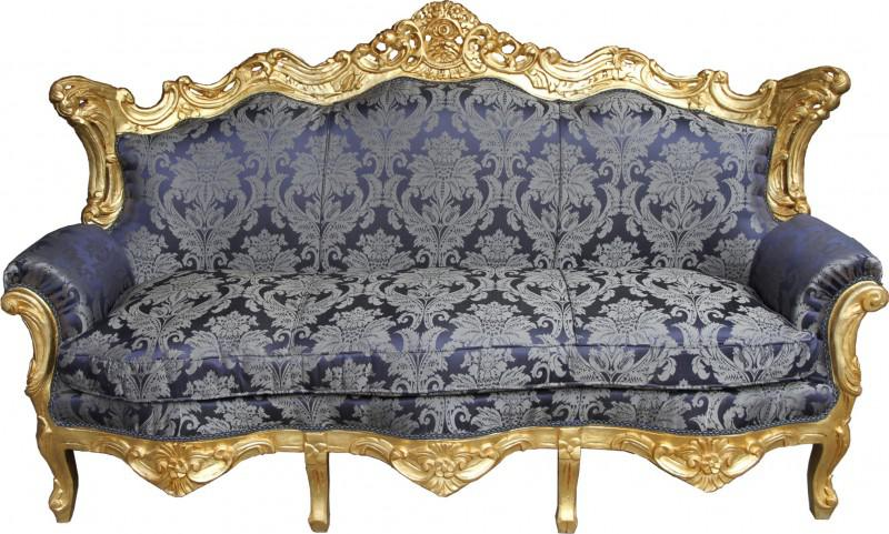 casa padrino barock sofa master royal blau muster gold. Black Bedroom Furniture Sets. Home Design Ideas