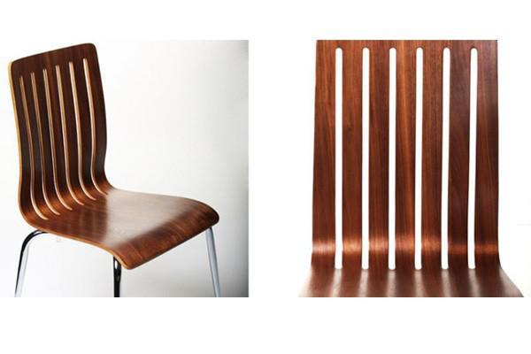 designer stuhl aus holz und verchromtem stahl in nussbaum furnier esszimmerstuhl moderner. Black Bedroom Furniture Sets. Home Design Ideas