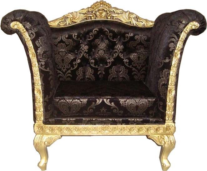 Casa Padrino Barock Lounge Sessel Schwarz Muster / Gold Möbel ... Wohnzimmer Gold Schwarz