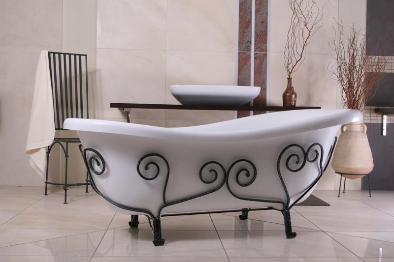 freistehende luxus badewanne jugendstil mediterran weiß, Badezimmer