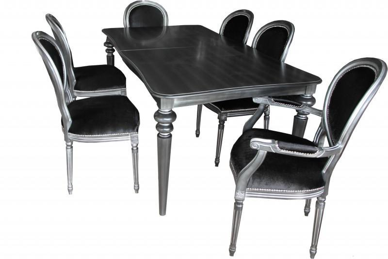casa padrino design esszimmerset schwarz silber ausziehbar esstisch 6 st hle kaufen bei. Black Bedroom Furniture Sets. Home Design Ideas