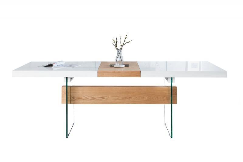moderner design esstisch wei hochglanz eiche furnier. Black Bedroom Furniture Sets. Home Design Ideas