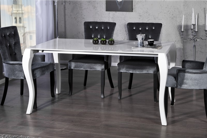 casa padrino barock esstisch hochglanz weiß mit auszug 170/200 ... - Esstisch Barock Modern