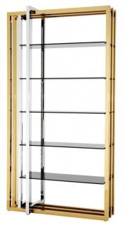 Casa Padrino Designer Edelstahl Regalschrank mit Rauchglas 120 x 46 x H. 230 cm - Luxus Hotel Möbel