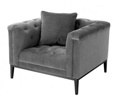 Casa Padrino Luxus Sessel Grau - Wohnzimmer Möbel