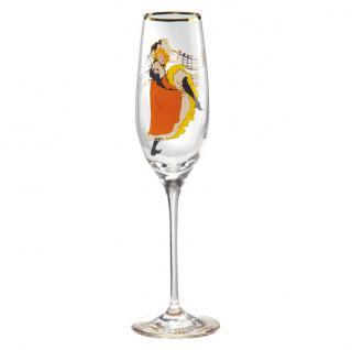 """Champagnerglas mit einem Motiv von T. Lautrec """" Jane Avril"""", 0, 19 Ltr. - feinste Qualität aus der Tettau Porzellanfabrik - wunderschönes Sektglas"""